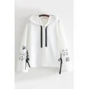 Cool Harajuku Long Sleeve Drawstring Cat Graphic Lace Up Relaxed Hoodie for Women