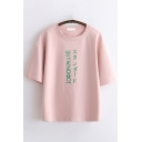 Simple Girls Short Sleeve Round Neck Letter Printed Loose Fit T Shirt