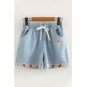 Girls Popular Drawstring Waist Strawberry Embroidered Rolled Cuffs Relaxed Fit Denim Shorts