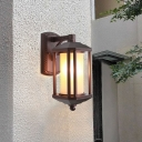 1-Bulb Wall Mount Sconce Lodges Outdoor Wall Lighting Fixture with Cylinder White Glass Shade in Dark Coffee