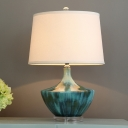 Modernist Drum Shaped Desk Light Fabric 1 Head Bedroom Night Table Lamps with Blue Geometric Ceramic Base