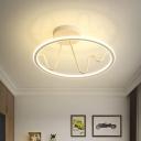 Study Room LED Semi Flush Mount Fixture Minimalism White Ceiling Light with Circular Acrylic Shade