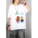 Lovely Girls Short Sleeve Round Neck Letter CUTE CATS Embroidered Cat Printed Ripped Rolled Edges Patchwork Irregular Loose Fit T Shirt
