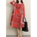 Retro Womens Casual Long Sleeve Round Neck Flower Plaid Patterned Linen and Cotton Maxi Oversize Tee Shirt