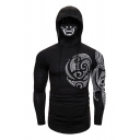 Cool Mens Long Sleeve Drawstring Hooded Floral Print Stretchy Fitted Ninja T Shirt