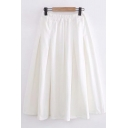 Casual Womens Solid Color Elastic Waist Long Pleated A-Line Skirt