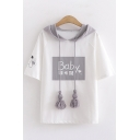 Preppy Girls Kawaii Short Sleeve Hooded Letter BABY Cartoon Printed Color Block Drawstring Relaxed Graphic Tee in White