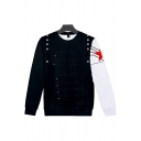Cool Fashion Guys Long Sleeve Crew Neck Spiderman Costume Pentagram Polka Dot 3D Printed Relaxed Fit Pullover Sweatshirt in Black