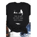 Simple Womens Roll Up Sleeve Crew Neck Letter THIS IS WHY WE CAN'T HAVE NICE THINGS Cat Graphic Relaxed T Shirt
