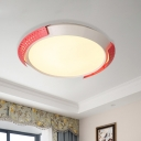 Flying Saucer Flush Mount Lighting Modern Metal Living Room LED Ceiling Flush in Pink/Gold, 16
