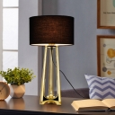 Gold Drum Nightstand Lighting Postmodern 1 Bulb Fabric Night Table Lamp with Metal Tripod