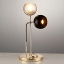 Gold Globe Nightstand Lamp Modernism 1 Bulb Clear and Black Glass Table Light for Living Room
