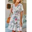 Glamorous Short Sleeve V-Neck All Over Floral Printed Elastic Waist Ruffled Trim Short Pleated A-Line Beach Dress