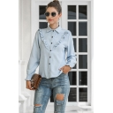 Classic Fancy Ladies Long Sleeve Lapel Neck Ruffled Trim Solid Color Regular Fit Shirt in Blue