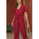 Popular Pretty Womens Red Bell Sleeve V-Neck Polka Dot Printed Bow Tie Waist Long Wide-Leg Jumpsuits