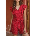 Gorgeous Ladies Red Sleeveless V-Neck Ruffled Trim Polka Dot Bow Tie Waist Fitted Romper