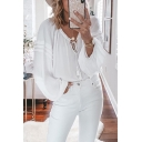 Popular Womens Blouson Sleeve V-Neck Bow Tie Pleated Relaxed Fit Blouse Top in White