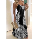 Pretty Ladies Sleeveless Floral Printed Color Block Long A-Line Cami Dinner Dress