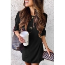 Elegant Formal Ladies Rolled Short Sleeve Round Neck Solid Color Mini Shift Work Dress