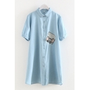 Lovely Girls Short Sleeve Lapel Neck Single Breasted Mouse Embroidered Midi A-Line Shirt Dress