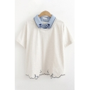 Casual Womens Short Sleeve Lapel Neck Paw Cat Embroidery Contrast Piped Fake Two Piece Relaxed Fit Tee Top