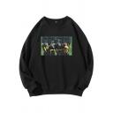 Trendy Designer Boys Long Sleeve Crew Neck Spoof Patterned Loose Fit Pullover Sweatshirt