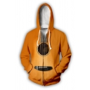 Unique Boys Long Sleeve Drawstring Guitar 3D Print Relaxed Fit Hoodie in Yellow