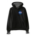 Leisure Womens Long Sleeve Letter NASA Galaxy Graphic Stripe Print Loose Hoodie with Pocket