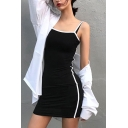 Fashion Chic Black Sleeveless Contrast Piped Short Fitted Cami Dress for Girls