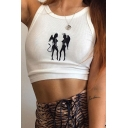 Popular Womens Sleeveless Round Neck Cute Elf Print Knitted Fit Crop Tank Top in White