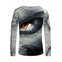 Cool Unique Long Sleeve Round Neck Creepy Eyes 3D Printed Slim Fit Tee in White