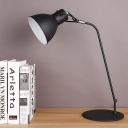 LED Domed Table Lamp Vintage Black Finish Metal Desk Lighting for Study Room, Curved Arm