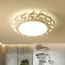 Round Flush Lighting Contemporary Metal LED Bedroom Ceiling Flush Mount in White with Diamond Design, 16.5