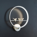 Ring Wall Lighting Modern Acrylic LED White Wall Mount Sconce with Birds Deco for Bedroom