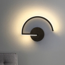 Semicircle Iron Wall Mounted Light Contemporary LED Black Sconce Lamp for Bedroom, Warm/White Light