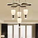 Contemporary 4-Cup and Twist Hanging Light Acrylic Living Room LED Cluster Pendant Lamp in Coffee