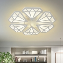 Contemporary LED Flushmount White Diamond Semi Flush Ceiling Light with Acrylic Shade in Warm/White Light for Living Room