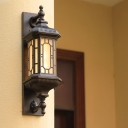 Black Lantern Wall Light Sconce Rustic Frosted Glass 1-Head Outdoor Wall Mount Lamp