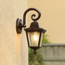 Glacier Prismatic Glass Wall Light Lodges 1-Light Outdoor Wall Mount Sconce in Black