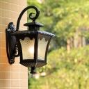 Water Glass Tetragonal Lotus Wall Mount Lodges 1 Head Outdoor Sconce Lighting Fixture in Black