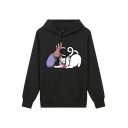 Preppy Looks Unisex Long Sleeve Drawstring Cute Cat Printed Pouch Pocket Relaxed Hoodie