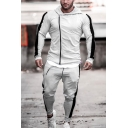 Training Guys Long Sleeve Asymmetric Zipper Front Color Block Fitted Hoodie with Drawstring Sweatpants