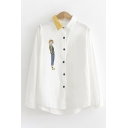 Leisure Ladies Long Sleeve Lapel Collar Button Down Cartoon Embroidered Striped Contrasted Loose Fit Shirt