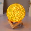 Rattan Global Table Lamps Minimalist Yellow LED Night Light with Wooden Geometric Support for Living Room