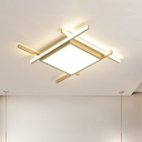 LED Bedroom Flush Mount Lamp Minimalist Gold Crossed Lines Ceiling Flush Mount with Square Acrylic Shade in Warm/White Light, 18