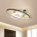 Acrylic Circular Flushmount Lighting Modernist Black and White LED Ceiling Fixture with Sphere Design in Warm/White Light, 20.5