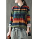 Stylish Girls Navy Long Sleeve Stand Collar Button Up Stripe Printed Cotton and Linen Loose Fit Shirt