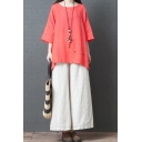 Leisure Vintage Womens Three-Quarter Sleeve Round Neck Plain Cotton and Linen Relaxed Fit Shirt