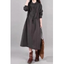 Retro Style Womens Long Sleeve Lapel Collar Button Up Drawstring Waist Solid Color Maxi A-Line Shirt Dress