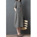 Trendy Ladies Short Sleeve Lapel Collar Button Up Plaid Patterned Ruched Linen Long Oversize Shirt Dress